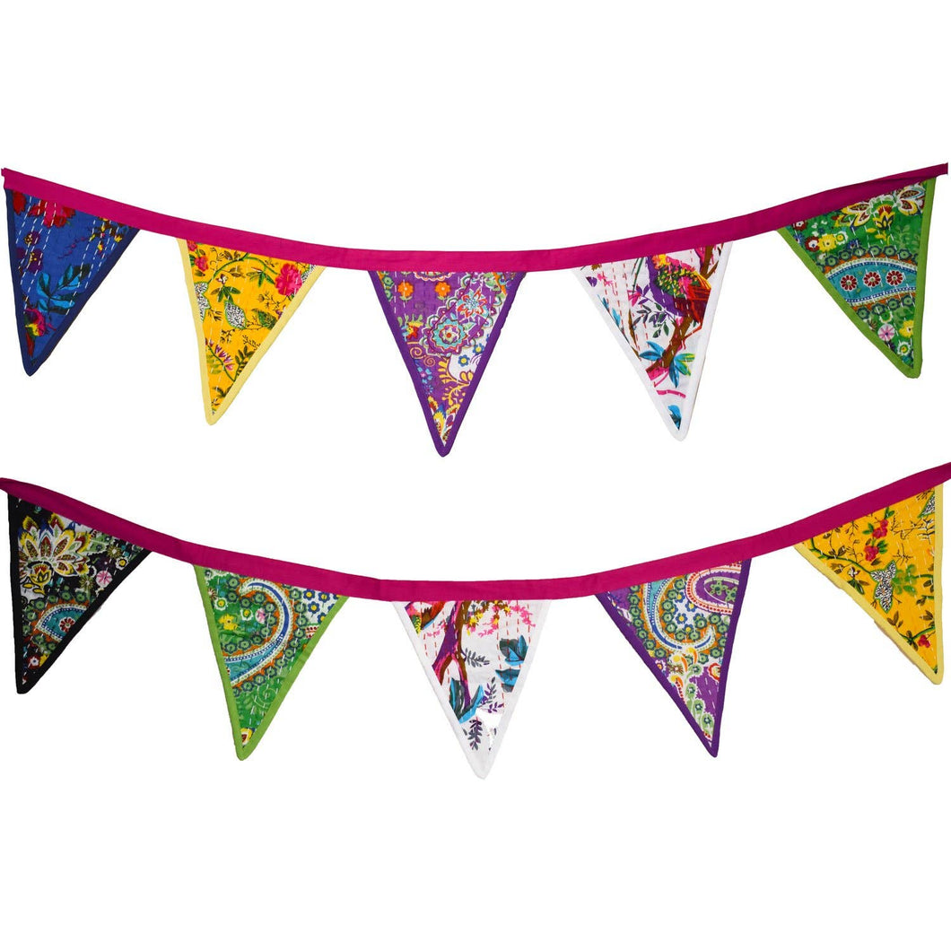 Mira Fair Trade - Kantha Patchwork Bunting (Assorted Colors)