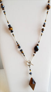 Pendulum Necklace | Tiger Eye, Quartz, and Assorted Glass Beads