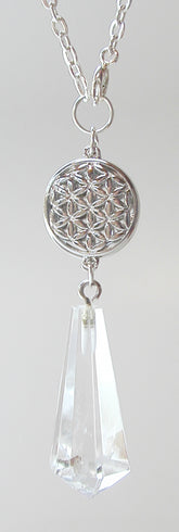Pendulum Necklace | Clear Quartz, Round Flower Of Life Charm