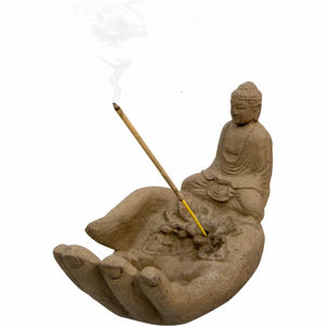 Volcanic Stone Incense Holder-Hand with Buddha