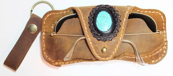 Handmade Leather Glass Cases With Stone Accent