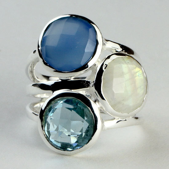 Chalcedony, Blue Topaz and Moonstone Multi Ring