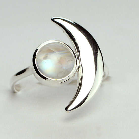 Moonstone Crescent Moon Goddess Ring