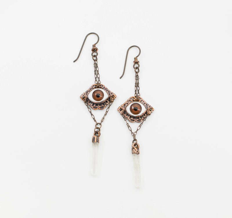 Brown Eye Filigree Dangle Earrings with Crystal Points