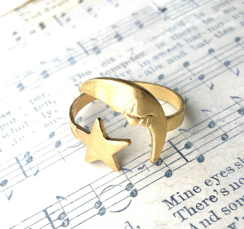 Moon and Star Ring Gold Celestial Astrology Crescent Moon