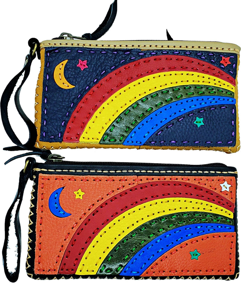 Leather Collage Art Clutch/ Wallet - Rainbow