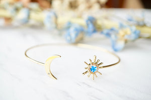 Ann + Joy - Real Pressed Flowers and Resin Bracelet, Gold Moon and Sun Cuff in Blue