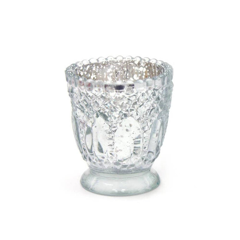 Votive Glass Candle Holder | Antique Silver