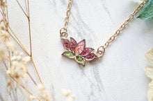 Load image into Gallery viewer, Ann + Joy - Rose Gold Lotus Flower in Pink & Green Real Pressed Flowers and Resin Necklace