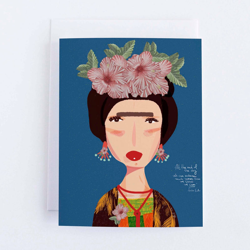 Frida Kahlo Blue Flower greeting card