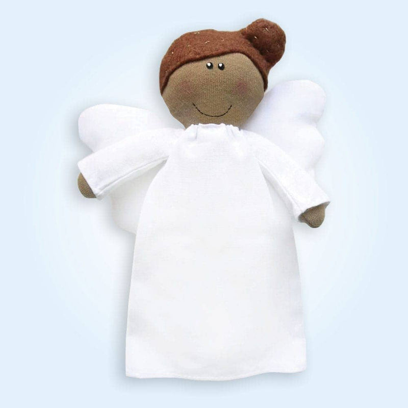 Angel Plush Doll - Girl with Tan Skin and Dark Hair