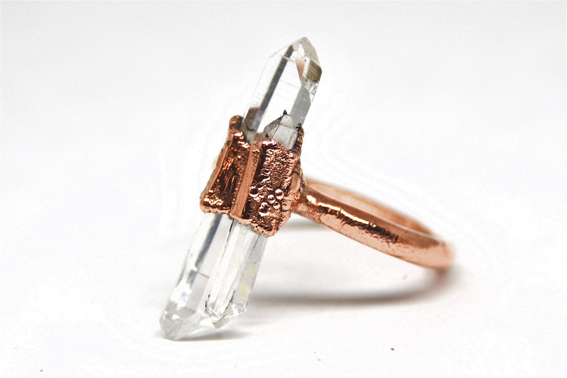 Raw Clear Quartz Point Ring | Quartz Ring |April Birthstone