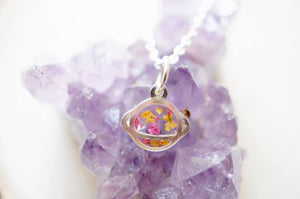 Ann + Joy - Real Pressed Flowers in Resin Tiny Silver Planet Necklace