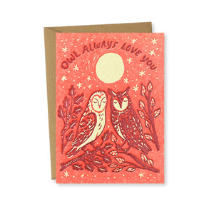 Bison Bookbinding & Letterpress - Owl Love Greeting Card