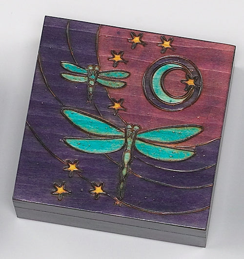 Dragonfly Moon Wooden Box Square