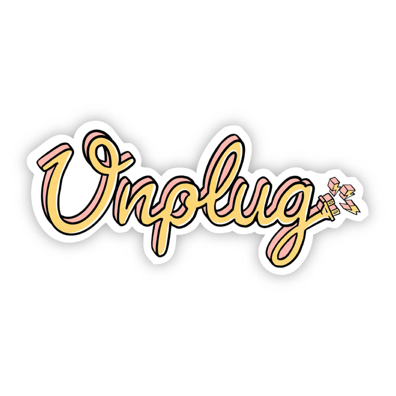 Unplug Lettering Sticker