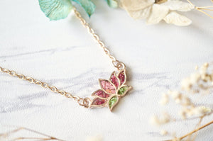 Ann + Joy - Rose Gold Lotus Flower in Pink & Green Real Pressed Flowers and Resin Necklace