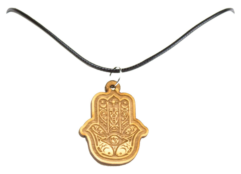 "Hamsa Necklace Pendant With 18"" Black Cord"