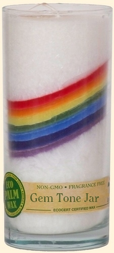 White & Rainbow Pillar Candle - Unscented