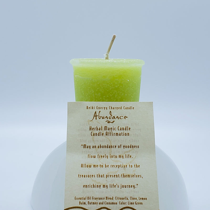 Abundance | Light Green Votive Intention Candle | Reiki Charged