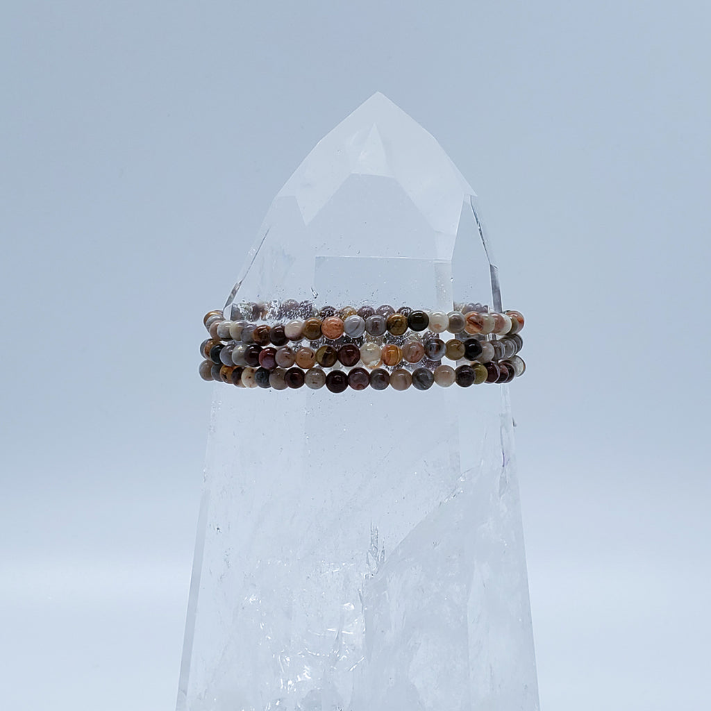 Agate, Laguna Lace | Shielding from negative energies | Stone Beaded Bracelet | 4mm | O