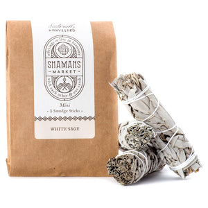 Shamans Market Three Mini Sage Sticks - Sustainable