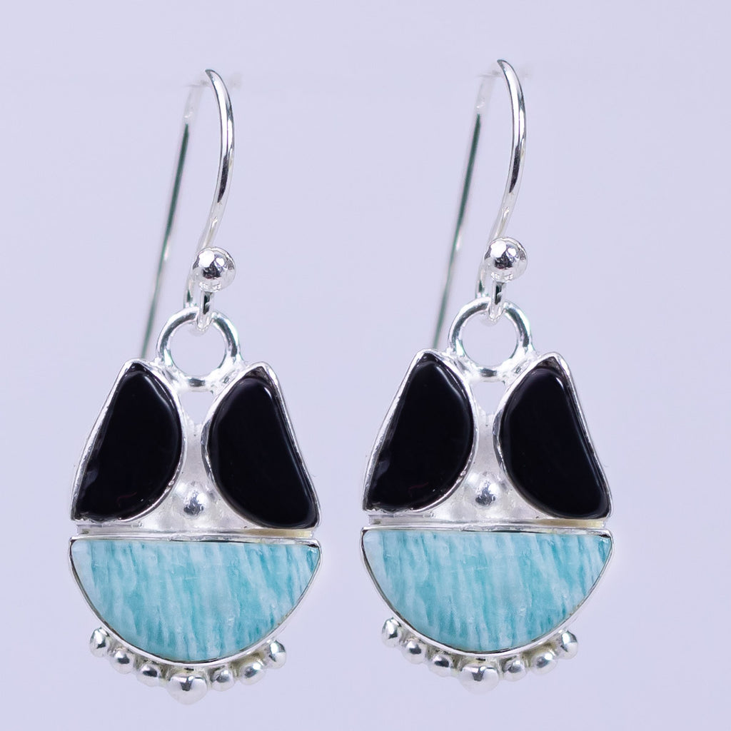 Amazonite Black Onyx Tribal Earrings