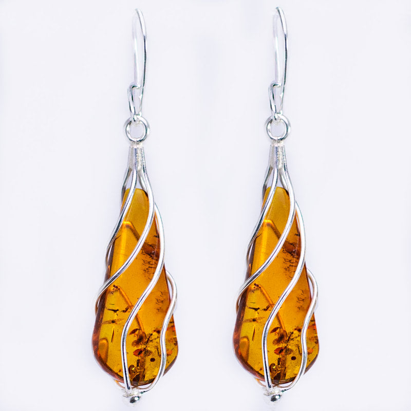 Baltic Amber Twister Earrings