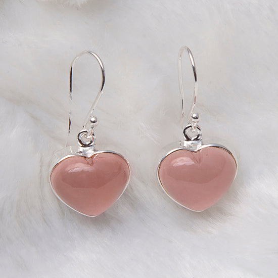Rose Quartz Heart Candy Earrings