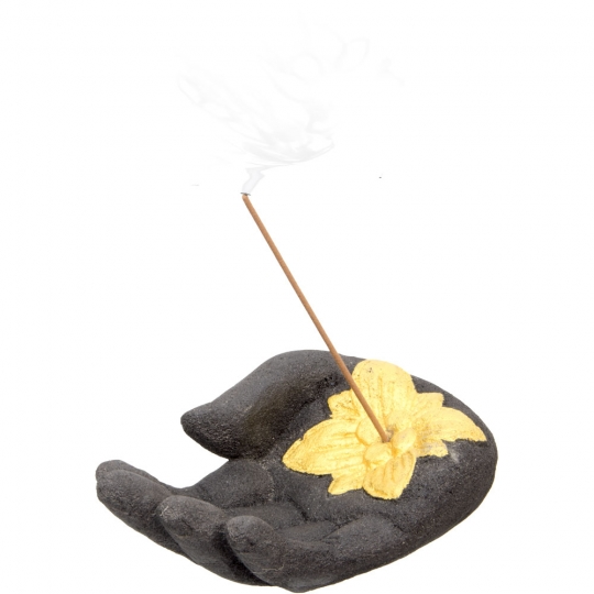 Volcanic Stone Incense Holder Black Hand