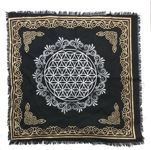 "Indian Cotton Tapestry Altar Cloth Flower of Life 24"" x 24""(black)"