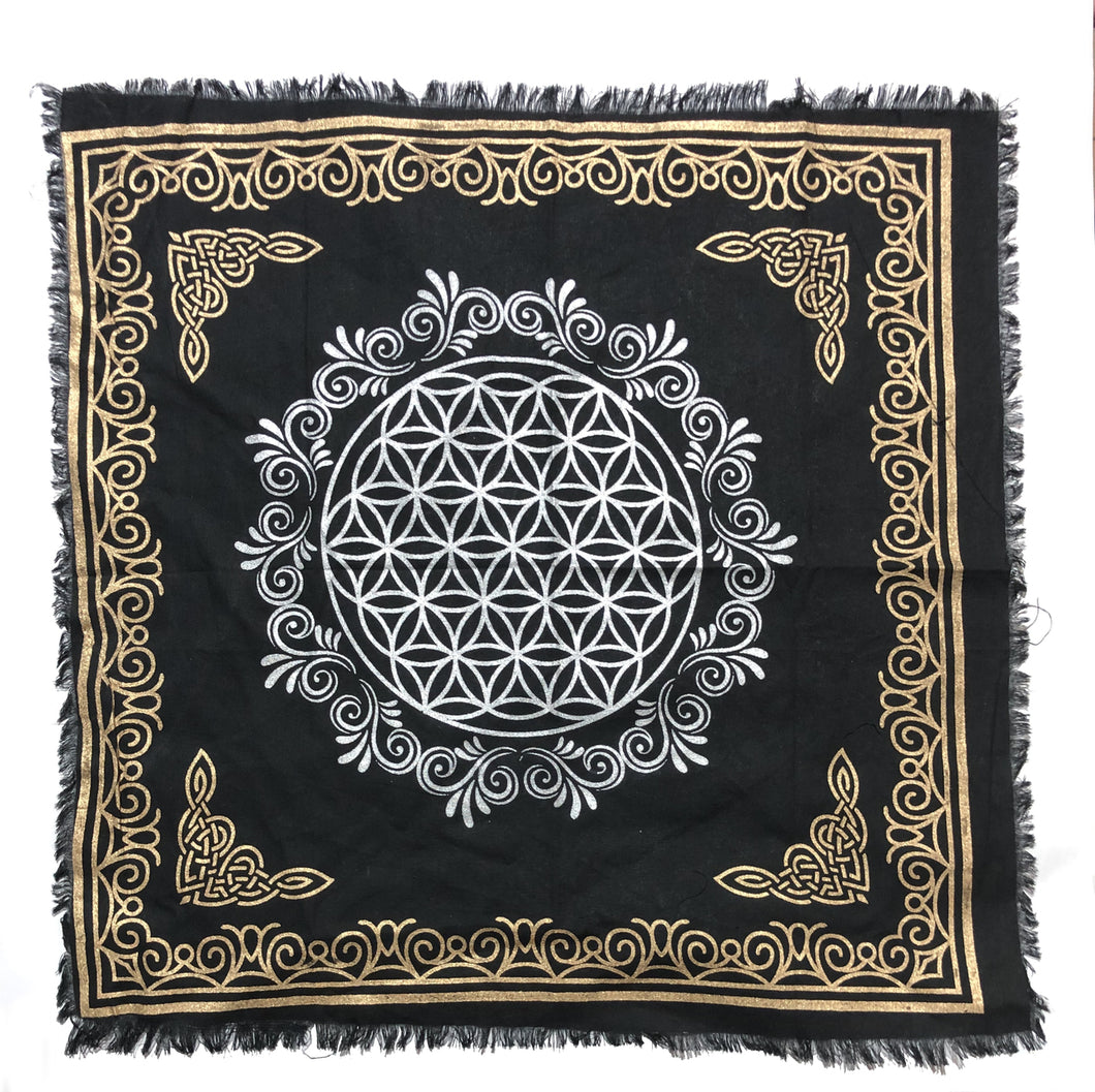 Indian Cotton Tapestry Altar Cloth Flower of Life 24
