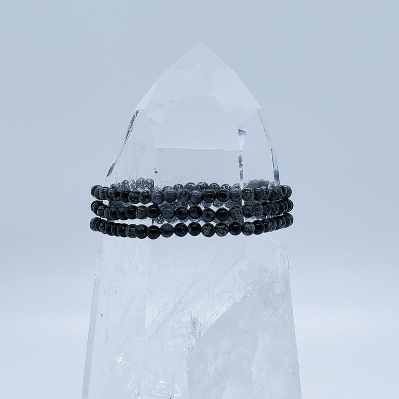 Obsidian, Snowflake | Stone of Purity | Stone Beaded Bracelet | 4mm | O