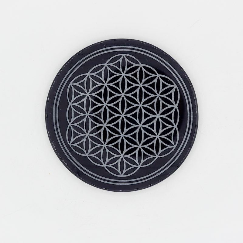 Flower of Life Crystal Grid | Black Obsidian