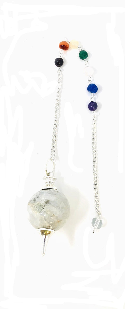 Rainbow Moonstone Chakra Chain Ball pendulum