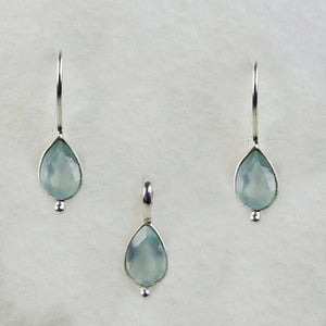 Aqua Chalcedony Birthstone Set March