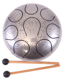"Chakra Steel Tongue Drum | Silver | 7.5"" x4"""