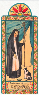 St. Gertrude Of Nevilles - Cats & Against Rodents | Wooden Pocket Plaque