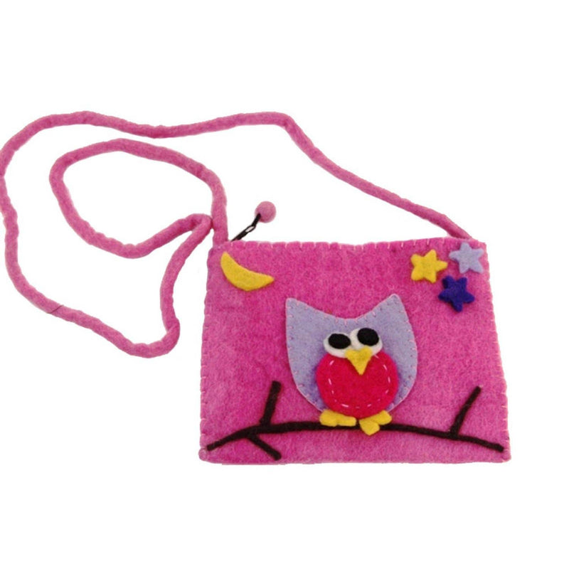 Kids' Pink Owl Felt Crossbody Bag
