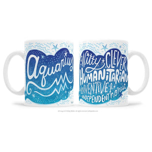 Kathy Weller Art+Ideas - Aquarius Zodiac Astrology Mug