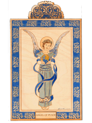 Angel of Peace Wooden Pocket Plaque