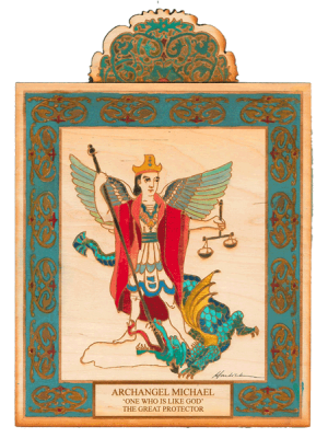 Archangel Michael Wooden Pocket Plaque