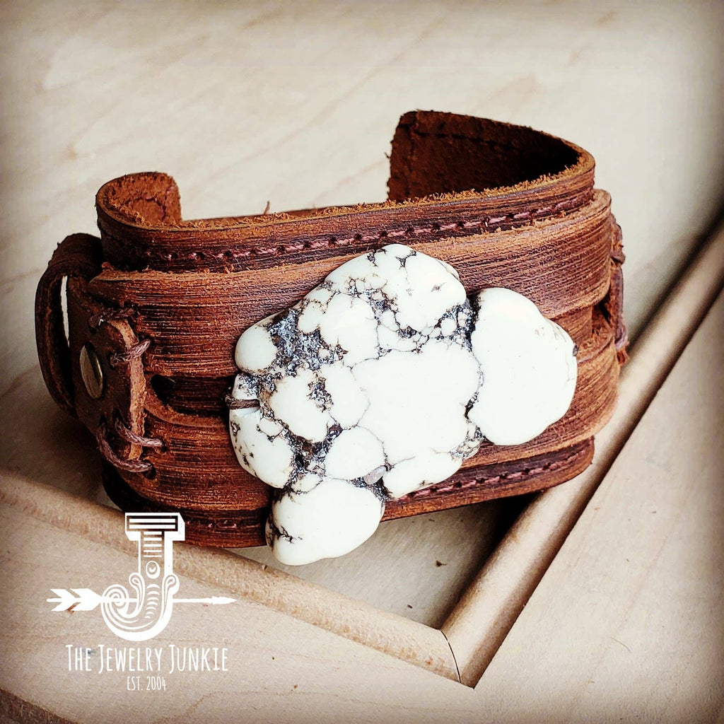 White Turquoise Chunky on Dusty Leather Cuff 230y
