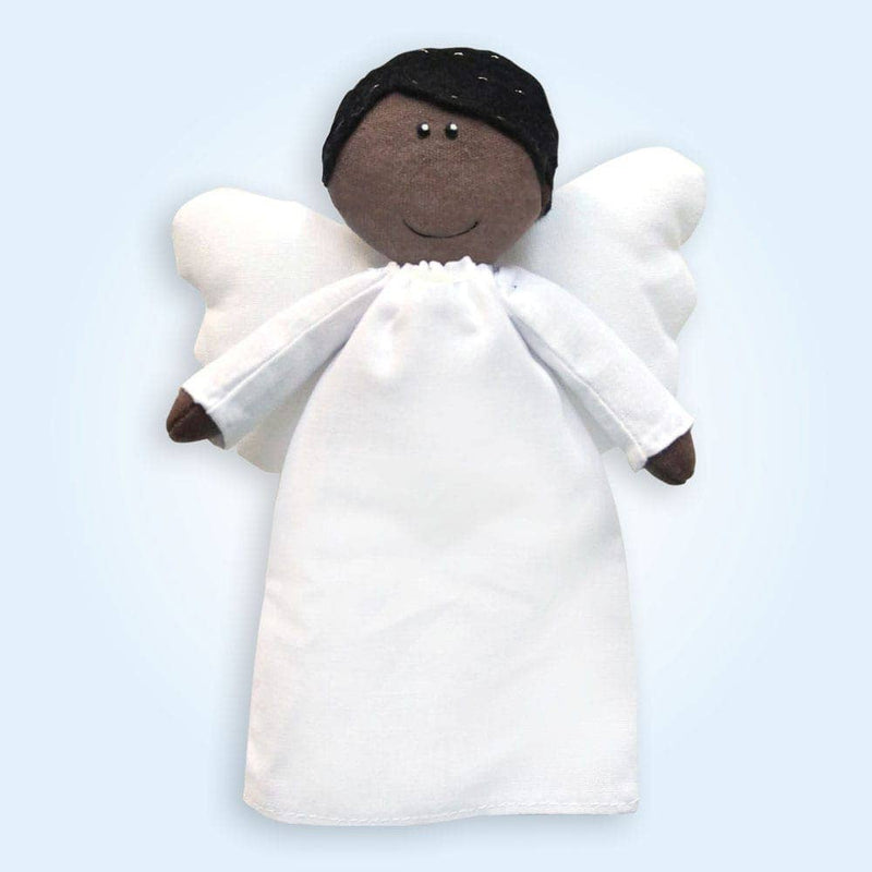 Angel Plush Doll - Boy with Dark Skin and Black Hair