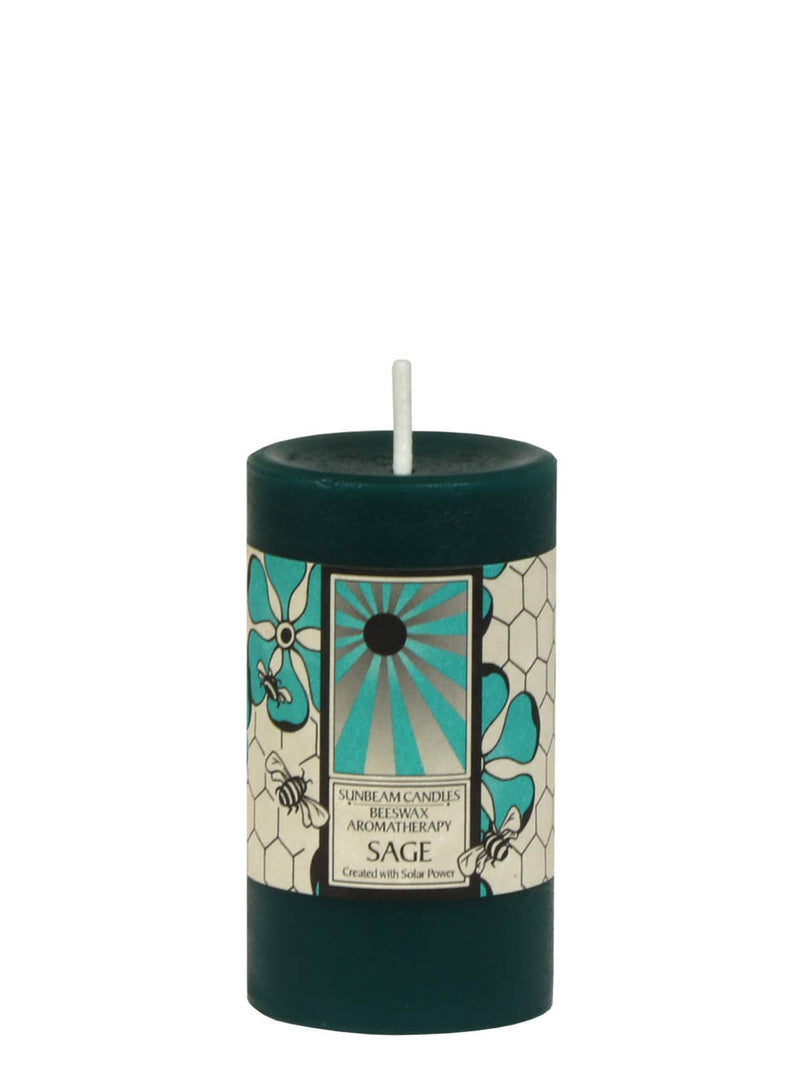 Sage Aromatherapy Pillar Candle | Dark Green  | Beeswax