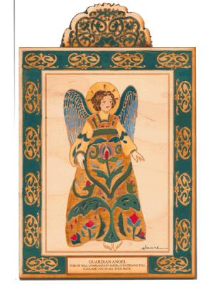 Guardian Angel Wooden Pocket Plaque