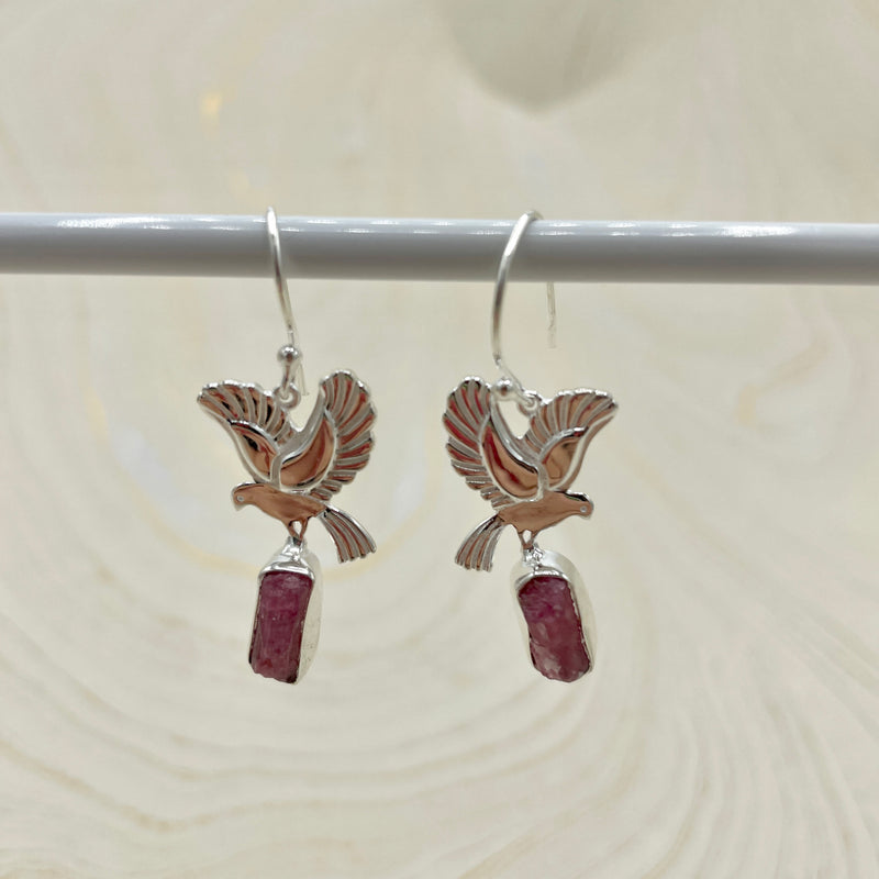 Pink Tourmaline Bird Earrings | Sterling Silver