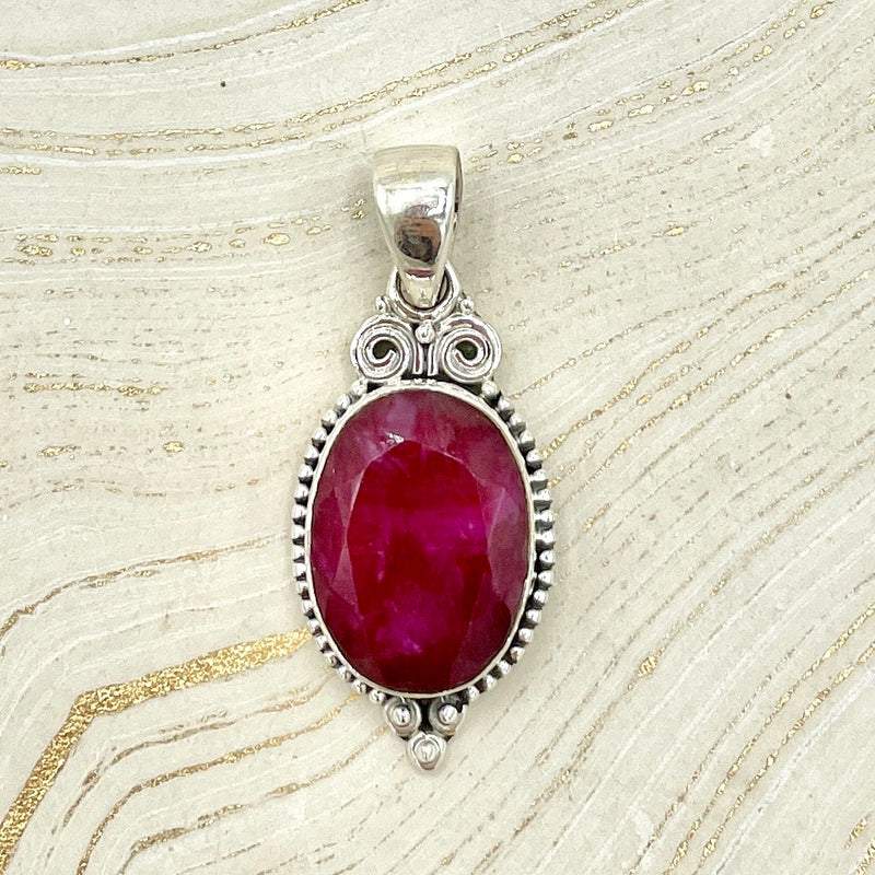 Ruby Goddess Pendant | Sterling Silver