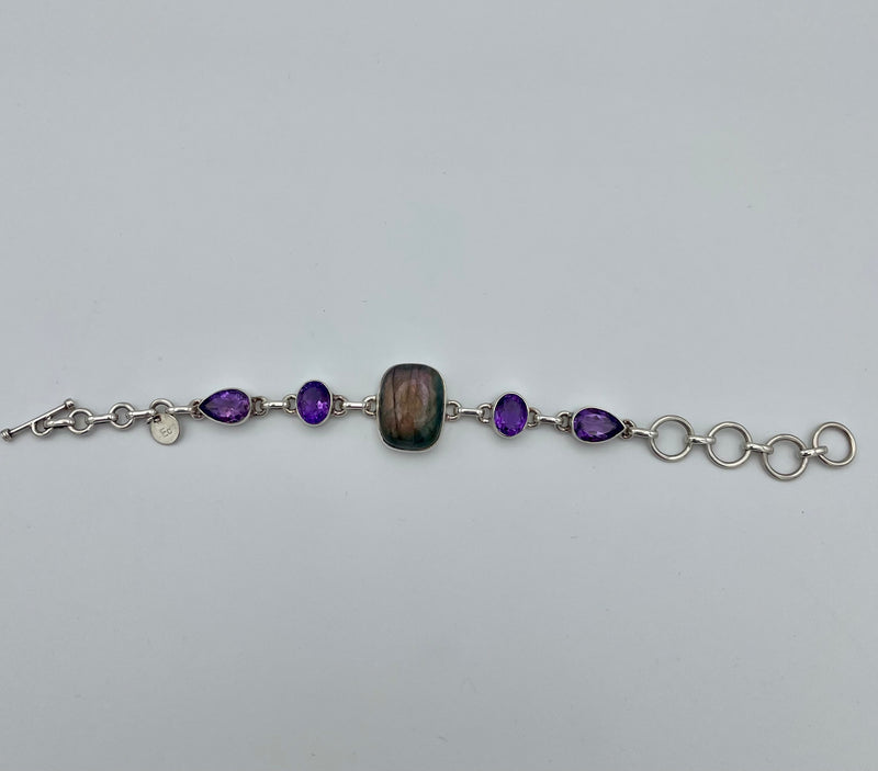 Labradorite and Amethyst Dual Psychic Bracelet | Sterling Silver