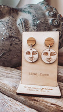 Man in the Moon Stud Dangle Earrings